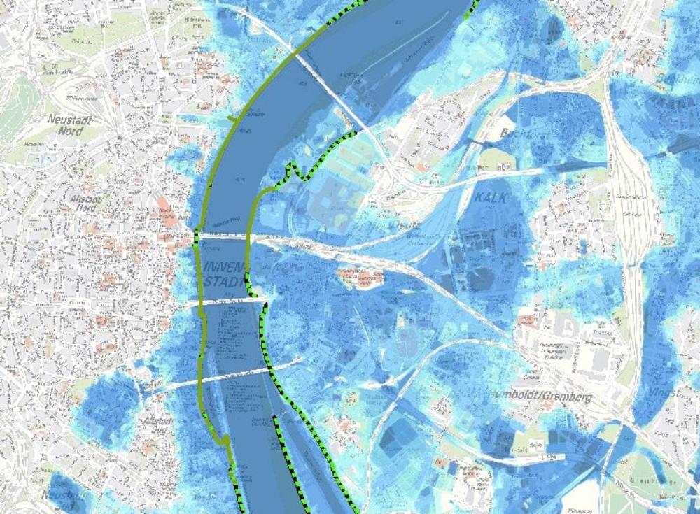 Hochwassergefahr in Köln auf Karte